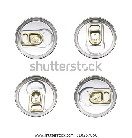tin can with gold pull ring top view set isolated on white background - stock photo