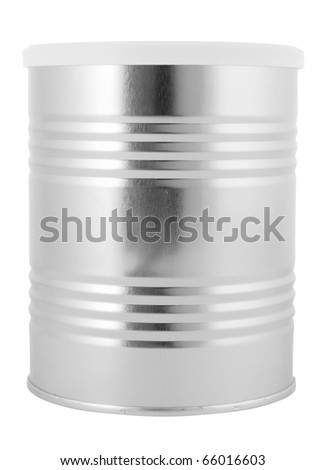 Tin can with plastic lid isolated with clipping path - stock photo