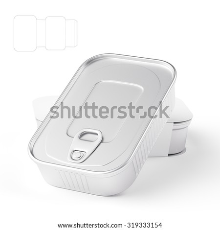 Tin Can with Sleeve Package and Die Line Template on White Background