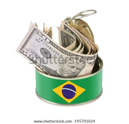 Tin can with US dollars isolated on white background - clipping path - Brazil flag as label - stock photo