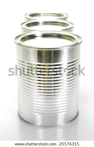 Tin canisters isolated against a white background
