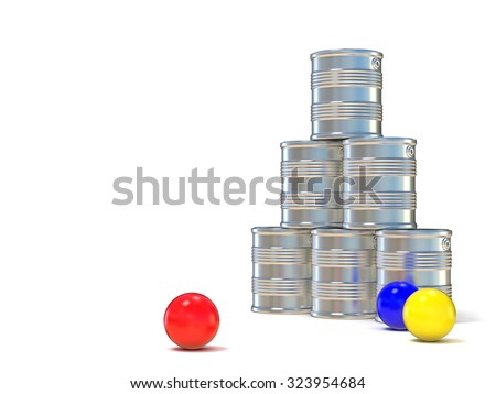 Tin cans and three balls. 3D illustration isolated on white background - stock photo