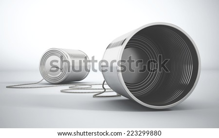 Tin cans attached to each other. - stock photo