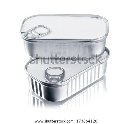 Tin cans closed isolated over white  - stock photo
