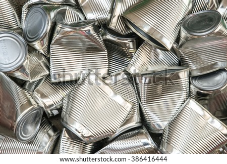 tin cans for recycling, abstract background - stock photo