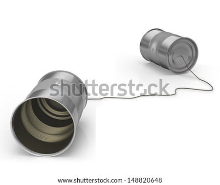 Tin cans on white background with string as game for kids to communicate