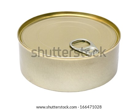 Tin food can of food isolated on white background