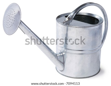 Tin Watering Can - isolated on white - stock photo