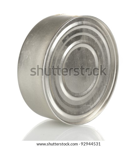 Tin with food isolated on white