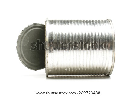Tin with open lid isolated on the white background - stock photo