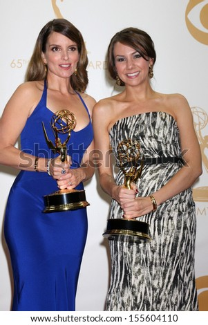 Tina Fey and Tracey Wigfield at the 65th Annual Primetime Emmy Awards Press Room, Nokia Theater, Los Angeles, CA 09-22-13 - stock photo