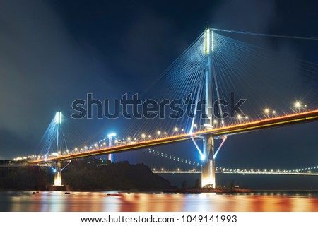 Ting Kau Bridge and Tsing Ma Bridge in Hong Kong