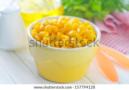 tinned corn - stock photo