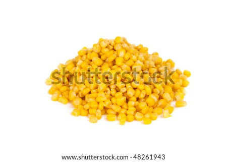 Tinned corns on the white background.