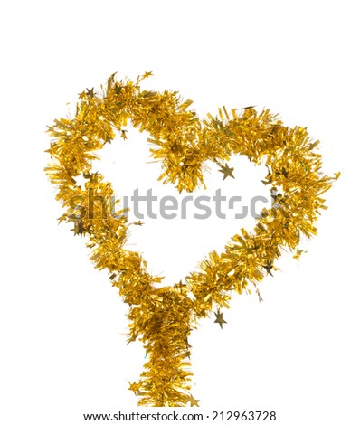 Tinsel as a Christmas decoration. Isolated on a white background - stock photo
