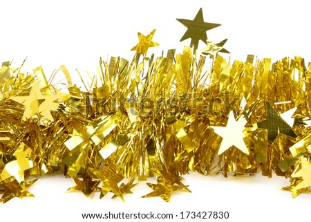Tinsel. Christmas decoration. Isolated on a white background. - stock photo