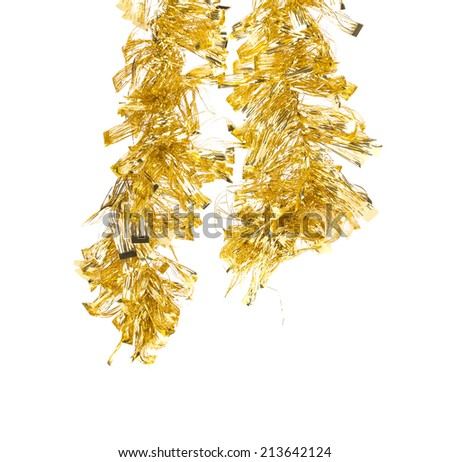 Tinsel. Christmas decoration. Isolated on a white background - stock photo