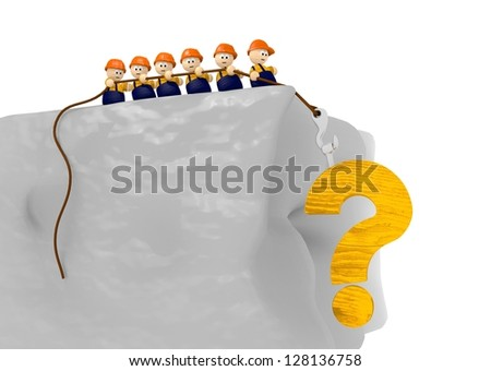 tiny cute 3d character are builder and construct a question mark comic 3d illustration - stock photo
