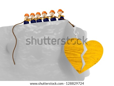 tiny cute 3d character in comic style with  broken heart 3d illustration - stock photo