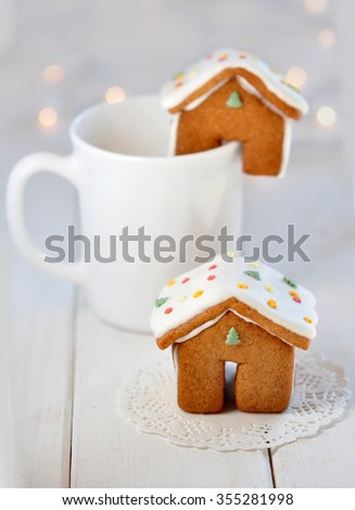Tiny gingerbread house - stock photo