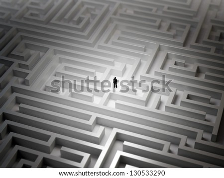 Tiny man in an endless maze