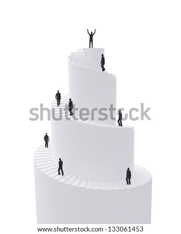 Tiny people climbing a spiral tower