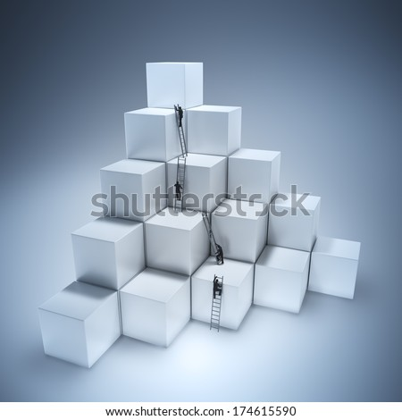Tiny people climbing ladders to get to the top. Teamwork and competition concept. - stock photo