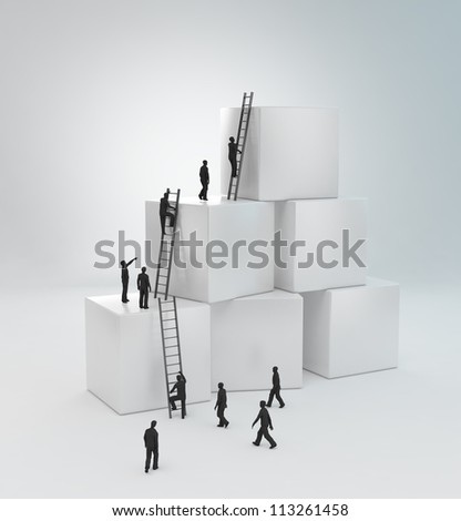 Tiny people climbing ladders to get to the top. Teamwork concept - stock photo