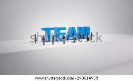 Tiny people - team building concept - stock photo