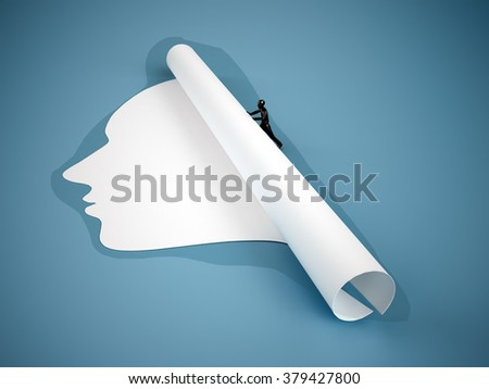 Tiny person rolling up a face-shaped piece of paper. - stock photo