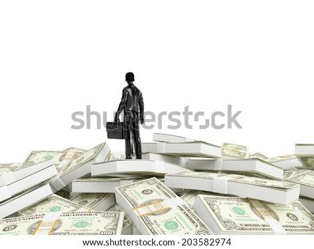 Tiny person standing on a huge pile of money - stock photo