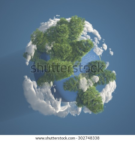 Tiny Planet Earth with Trees and Clouds 3D Render - stock photo