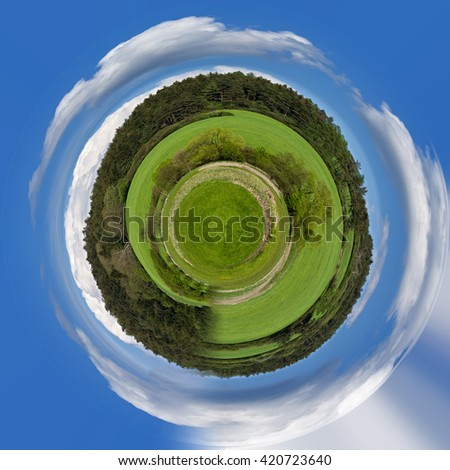 tiny planet of beautiful summer rural landscape with forest. Rural landscape with trees. Spring landscape. Green czech countryside. Beautiful highland vysocina european countryside, ecology concept - stock photo