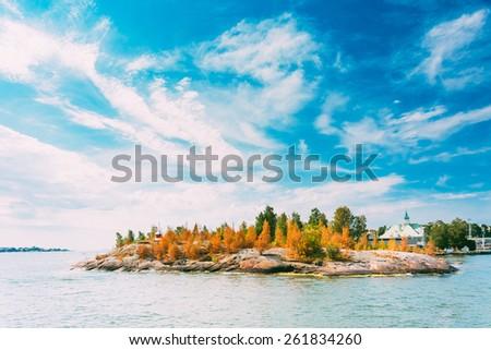 Tiny Rocky Island Near Helsinki, Finland. - stock photo