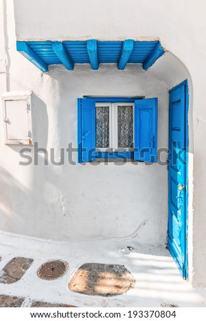 Tiny typical house in Mykonos, Greece, Europe - stock photo