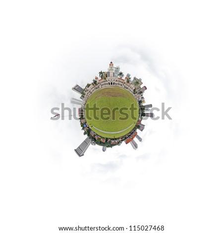 Tiny urban planet of Kuala Lumpur city skyline at Dataran Merdeka. - stock photo