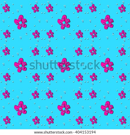 Tiny white dots sit besides pink flowers.  All are on a bright blue background. - stock photo