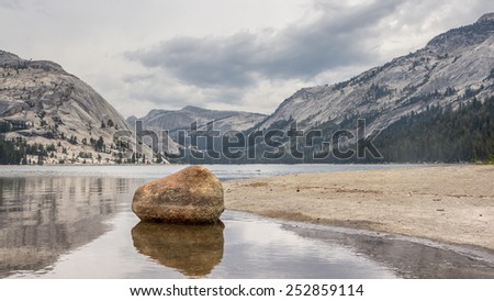 Tioga Lake Yosemite National Park California US - stock photo