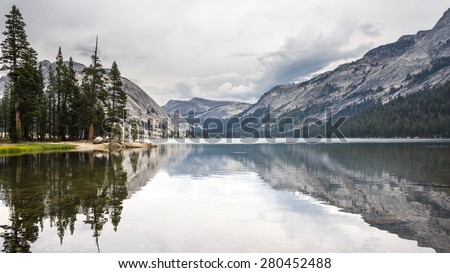 Tioga Lake Yosemite National Park California US - stock photo