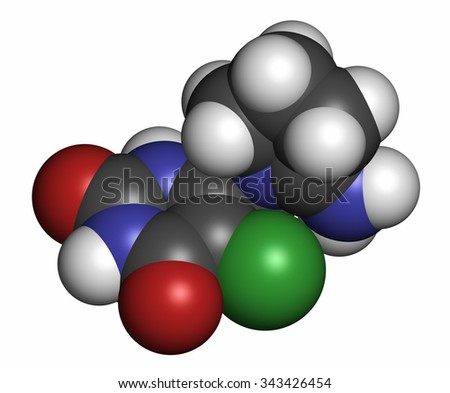Tipiracil cancer drug molecule (thymidine phosphorylase inhibitor). Atoms are represented as spheres with conventional color coding: hydrogen (white), carbon (grey), oxygen (red), etc - stock photo