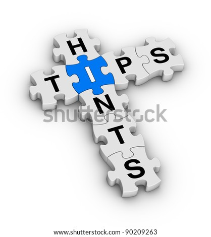 tips and hints jigsaw puzzle icon - stock photo