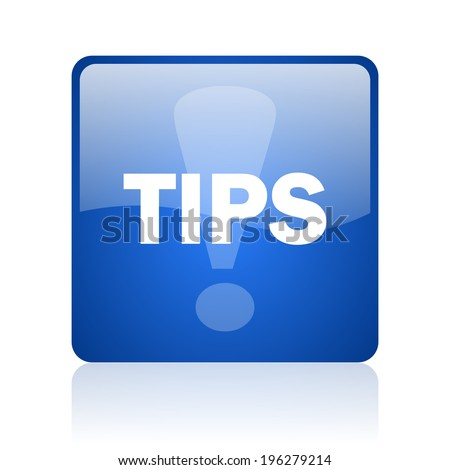 tips blue computer icon on white background