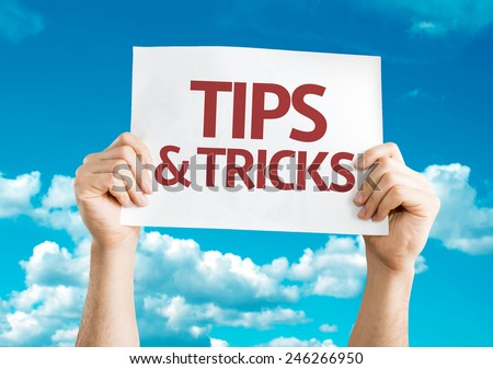 Tips & Tricks card with sky background - stock photo