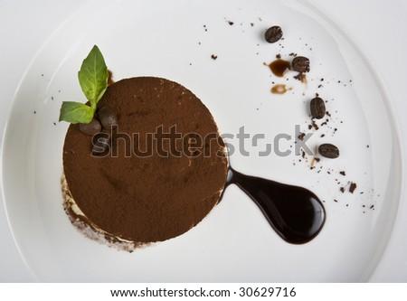 tiramisu a dessert is sweet to inundate a chocolate - stock photo