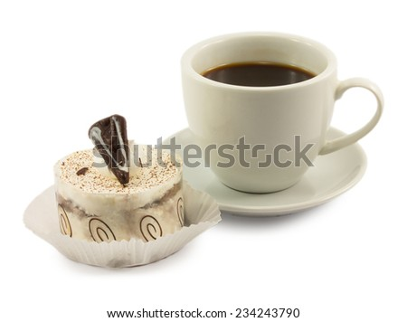 tiramisu and a cup of coffee isolated on white background - stock photo