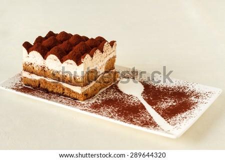 Tiramisu - Classical dessert with mascarpone and coffee - stock photo