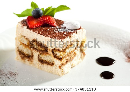 Tiramisu Dessert with Berries - stock photo