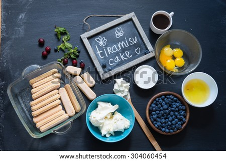 Tiramisu ingredients - stock photo