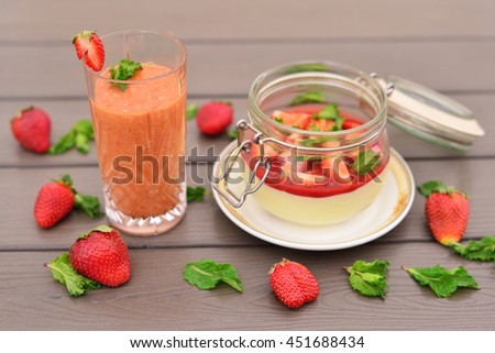 Tiramisu with strawberries. Strawberry smoothies. The concept for the recipe.