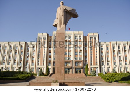 TIRASPOL, TRANSNISTRIA - OCTOBER 20: Transnistria Parliament on October 20, 2013 in Tiraspol, Transistria. Tiraspol is the capital of Transnistria, a self governing territory not recognised by UN - stock photo